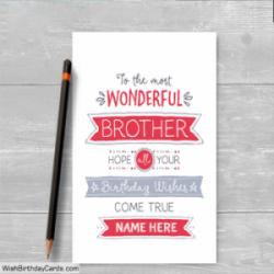 Best Wishes Birthday Cards For Brother With Name