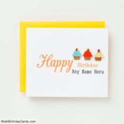 Cupcake Handmade Birthday Card For Men With Name