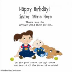 Cute Birthday Wishes Card For Sister With Name