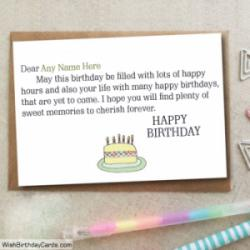 Sweet Cake Birthday Card Wishes With Name