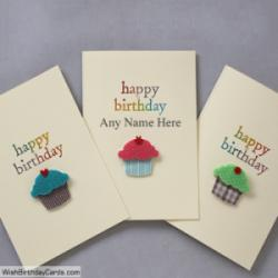 Sweet Cupcake Birthday Card For Brother With Name