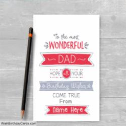 Wonderful Dad Happy Birthday Cards With Name