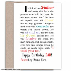 Best Birthday Wish Cards For Dad With Name