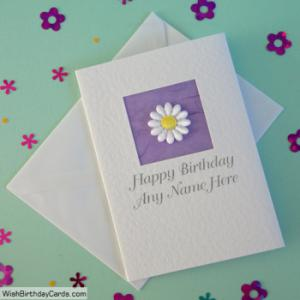 Flower Handmade Birthday Cards With Name