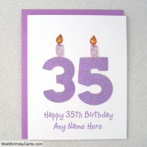 Glitter 35th Birthday Cards With Name