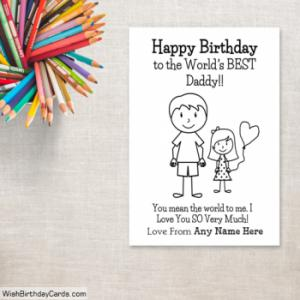 Happy Birthday Cards For Dad With Daughter Name