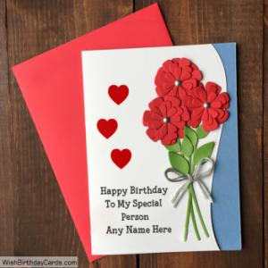 Romantic Rose Handmade Birthday Card For Special Person