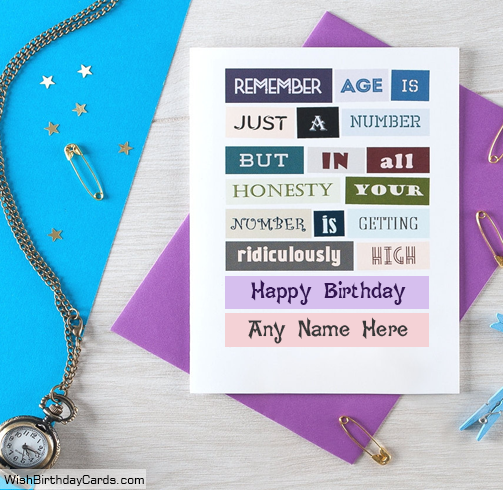 Age Is Just A Number Funny Birthday Cards With Name