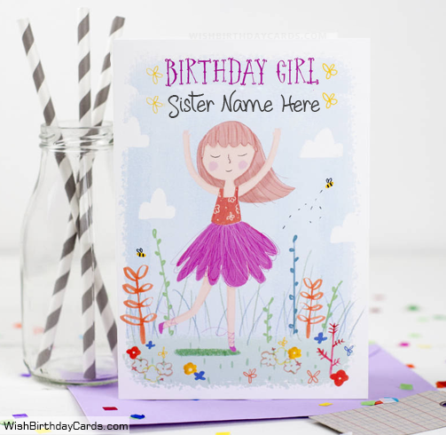 Beautiful Creative Birthday Girl Card With Name