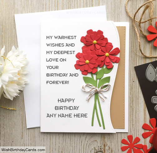 Beautiful Rose Birthday Cards For Friends With Name
