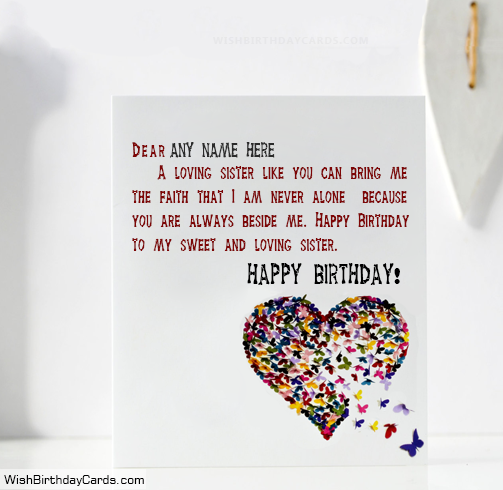 Birthday Quotes On Cards For Sister With Name