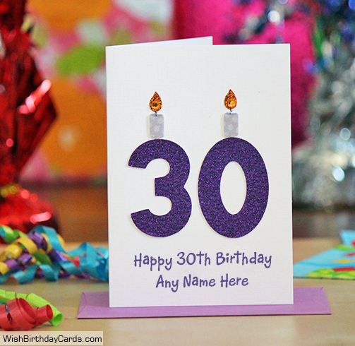 Candles Handmade 30th Birthday Cards With Name
