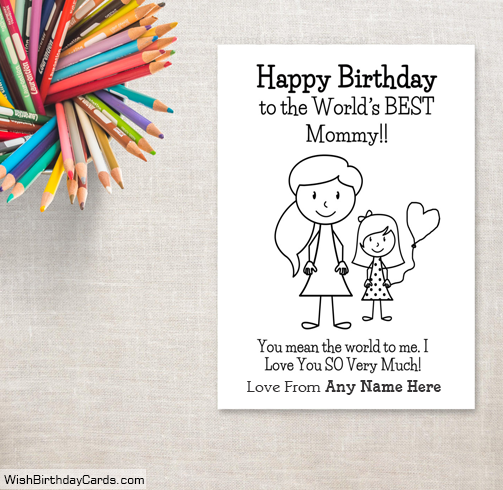 Happy Birthday Cards For Mom With Daughter Name