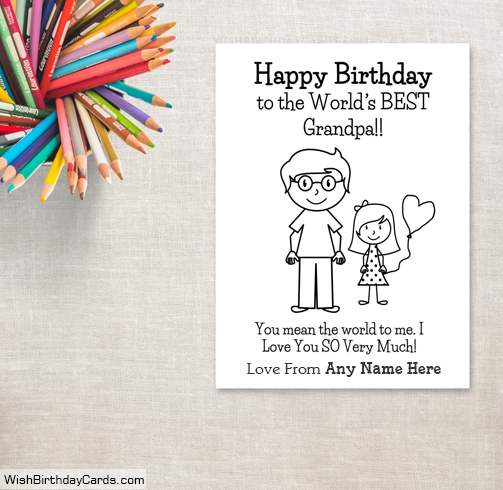 Happy Birthday Grandpa Cards For Girls With Name