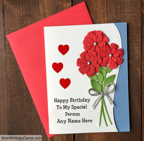 Rose Handmade Birthday Card For Special Person – Handmade Birthday Card for Lover