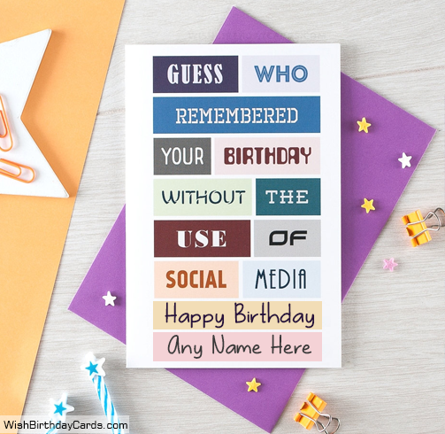 Social Media Funny Birthday Cards With Name
